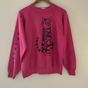 Vintage Cat Hot Pink Pullover Sweater Womens